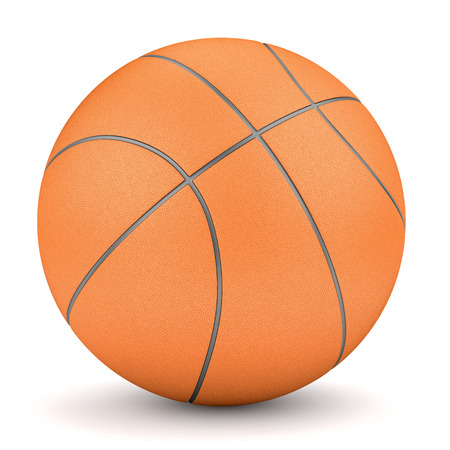 Sport and fitness symbol. Render of simple orange basketball isolated on white background photo
