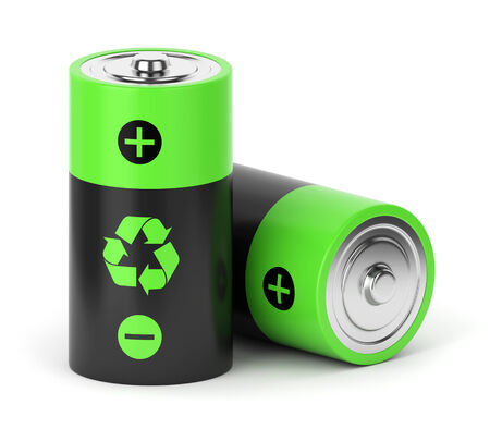 recycle sign: Rechargeable batteries with recycle sign isolated on white background Stock Photo
