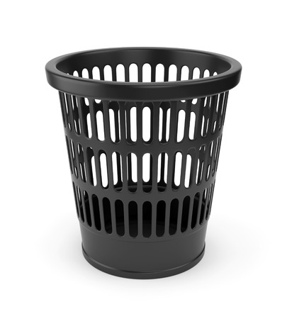 wastepaper basket: Black plastic empty wastebasket isolated on white background
