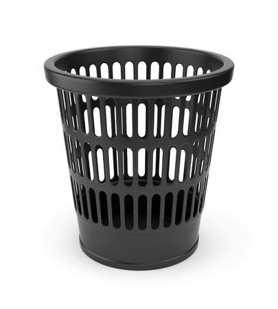 wastebasket: Black plastic empty wastebasket isolated on white background