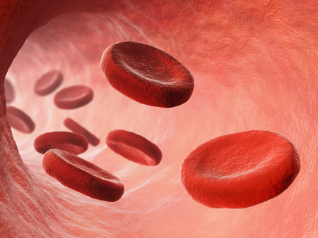 bloodstream: Red blood cells in bloodstream macro view. Medicine and biology scientific research illustration.
