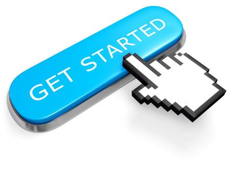 Networking concept. Blue SLAG knop met de hand cursor op wit wordt geïsoleerd. 3D-afbeelding.