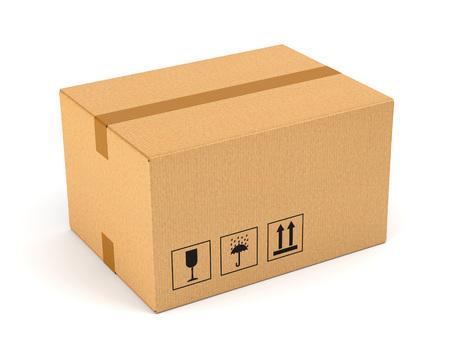 Kartonnen doos op een witte achtergrond. Bewegende, levering en magazijn concept.