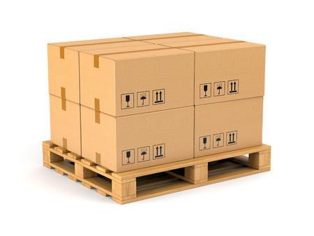 pallet: Cajas de cartón en la paleta de madera aislada sobre fondo blanco. Almacén, envío, carga y concepto de entrega.