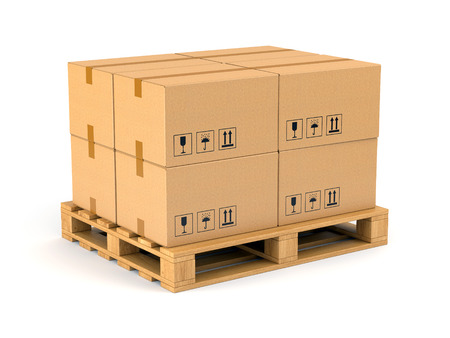 Cardboard boxes on wooden pallet isolated on white background. Warehouse, shipping, cargo and delivery concept. Stock Photo