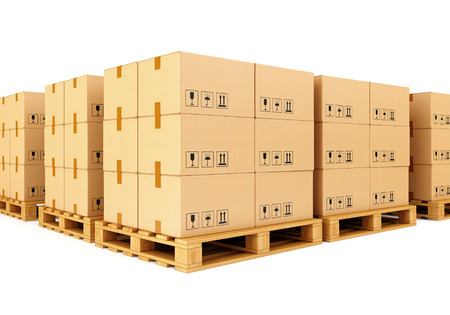 Stacks of cardboard boxes on wooden pallets isolated on white background. Warehouse, shipping, cargo and delivery concept.