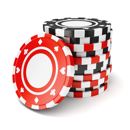 Black and red casino tokens pile isolated on white background Archivio Fotografico