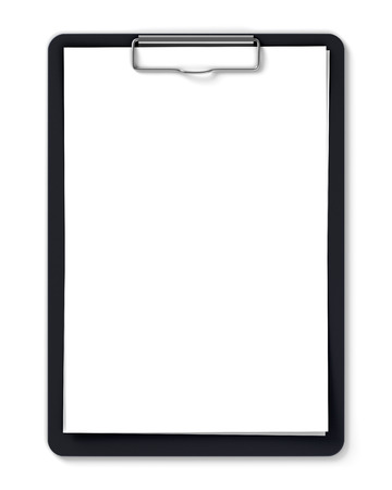 Black clipboard with blank sheets of paper isolated on white Foto de archivo