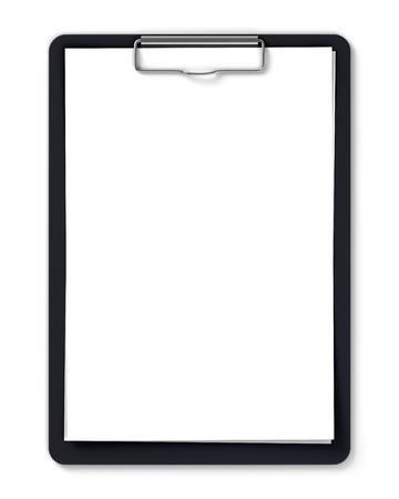 portapapeles: Sujetapapeles negro con hojas de papel en blanco aislado en blanco