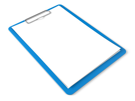 todo: Blue clipboard with blank sheets of paper isolated on white Stock Photo