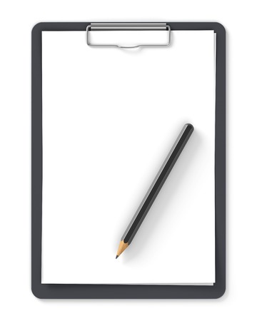 Black clipboard with blank sheets of paper and pencil isolated on white photo