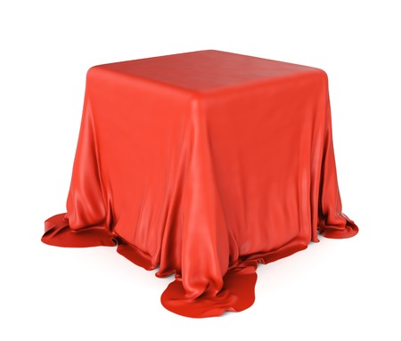 3D illustration of cube shaped object covered with red satin cloth isolated on white background. Surprise and presentation concept.