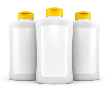 sunscreen: Three white bottles of cosmetic stuff with blank labels isolated on white