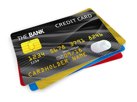 yellow card: Stack of plastic bank credit cards isolated on white background