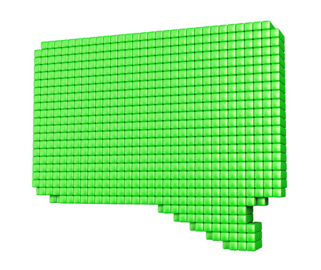 Internet media concept. Green bubble form made of glossy cubes isolated on white. photo