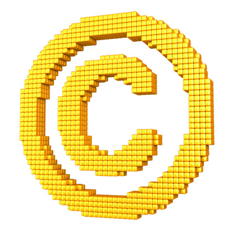 warrant: Yellow copyright symbol made of glossy cubes isolated on white Stock Photo