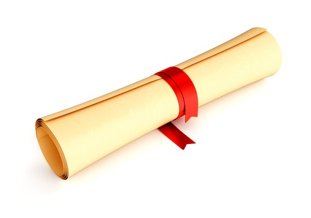 scroll of the law: Diploma, certificate, graduation document or letter - paper skroll with red ribbon isolated on white background