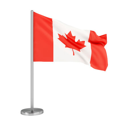canada flag: 3d illustration. Flag of Canada isolated on white.