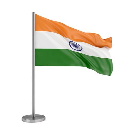 흰색 배경에 고립 된 인도의 국기 스톡 콘텐츠