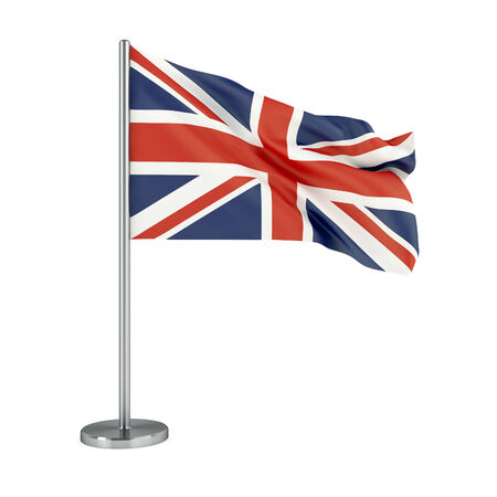 british flag: 3d illustration. Flag of UK isolated on white.