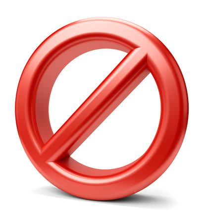 wrong: 3d illustration of prohibited icon sign isolated on white background. Stock Photo