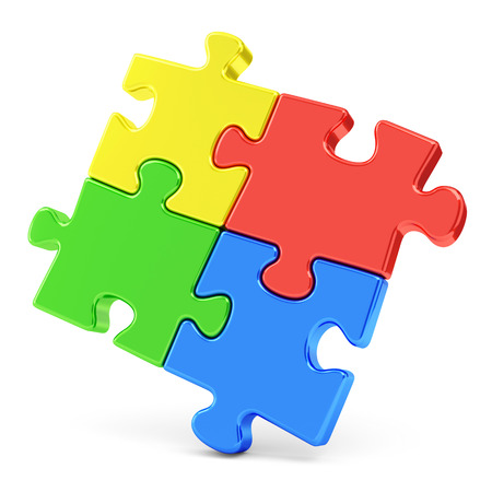 Business, teamwork and success concept. Four color red, blue, green and yellow puzzle pieces isolated on white photo