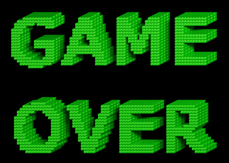 orthographic symbol: GAME OVER text made of green glossy cubes isolated on black background. 3d illustration.