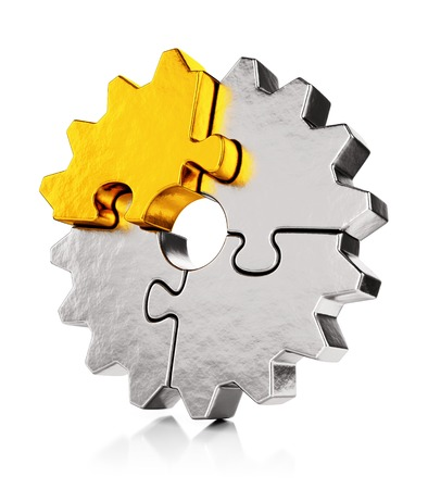 merge together: Business teamwork, collaboration and success concept. Gear from golden and silver puzzle pieces isolated on white background with reflection effect. Stock Photo