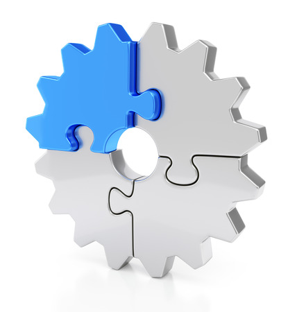 Business, teamwork and success concept. Gear from puzzle pieces isolated on white background with reflection effect.