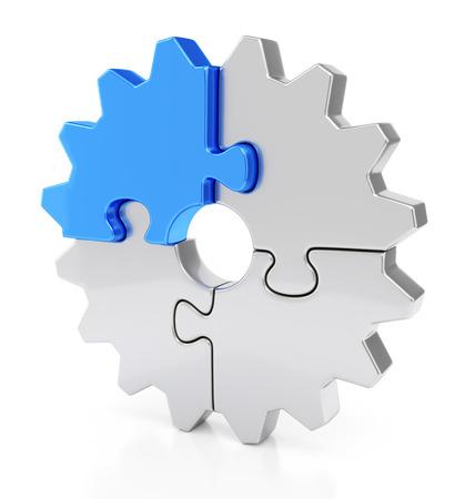 비즈니스, 팀웍과 성공 개념. 반사 효과와 흰 배경에 고립 된 퍼즐 조각에서 기어. 스톡 콘텐츠