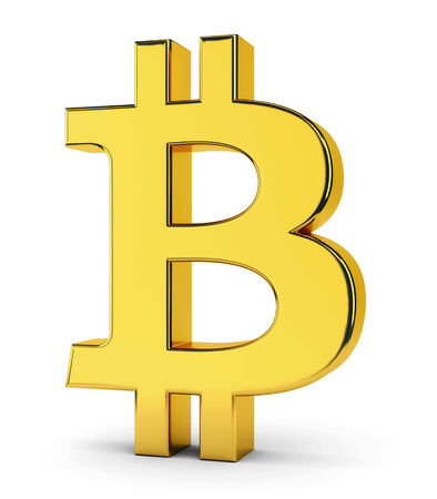 crypto: Golden symbol of bitcoin isolated on white background. Crypto currency, e-business and technology concept.