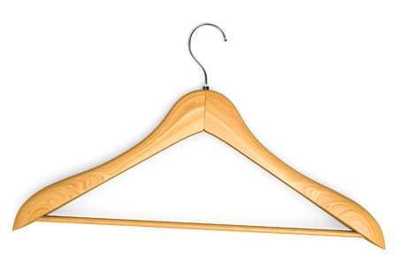 coat hanger: Wooden isolated hangle. Isolated on white. 3d illustration. Stock Photo