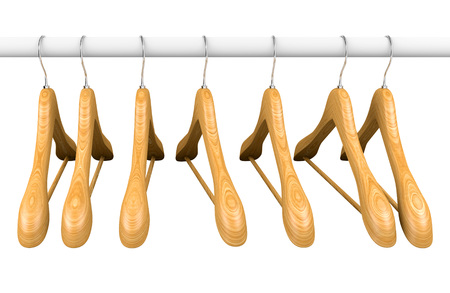 clothes rail: Wooden hangers on hangers rail. Isolated on white. 3d illustration. Stock Photo