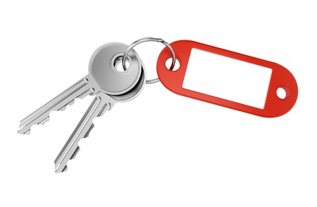 Red keyring with blank tag for text or number and two metal door keys isolated on white background photo