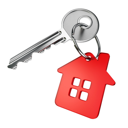 Metal door key with red house-shape trinket isolated on white background Standard-Bild