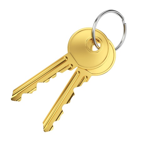 Paar gouden deur sleutels geïsoleerd op een witte achtergrond Stockfoto