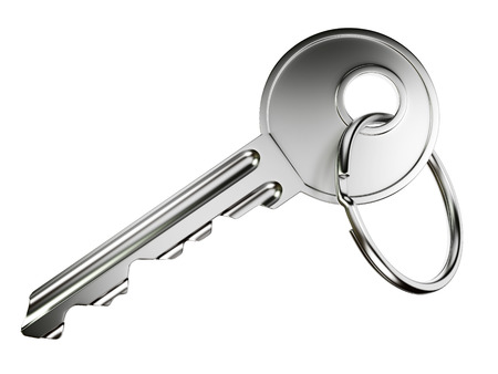 Nickel door key with ring isolated on white background photo