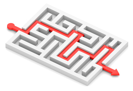 solved maze puzzle: Red path with arrow across labyrinth isolated on white Stock Photo