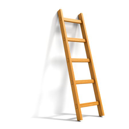 Wooden ladder leaned against white wall isolated
