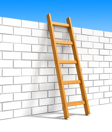 overcoming: Wooden ladder to blue sky leans on white brick wall. Happiness, freedom, leadership, success, goals achievement and overcoming obstacles concept.