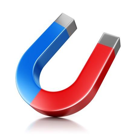 magnetite: Metal horseshoe shaped magnet isolated on white background