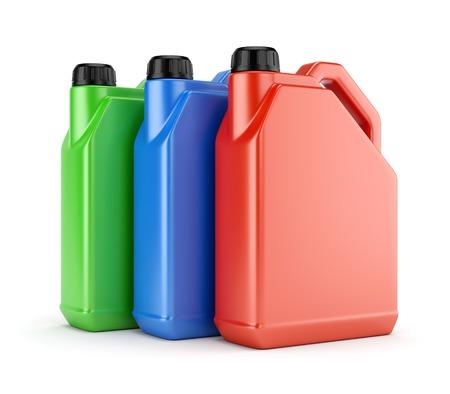 productos quimicos: Tres bidones de plástico de color rojo, verde y azul del color aislados sobre fondo blanco Foto de archivo
