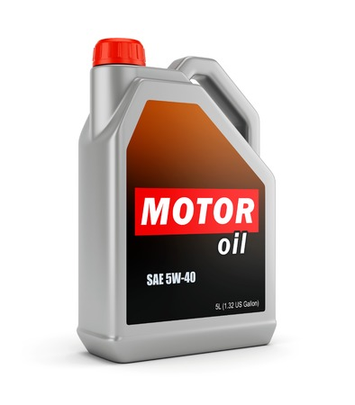 new motor vehicles: Gray plastic canister of motor oil isolated on white background
