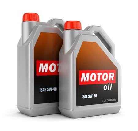 Twee plastic jerrycans motorolie met label geïsoleerd op een witte achtergrond