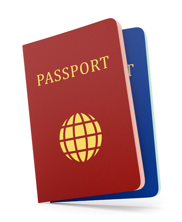 Two passports color red and blue isolated on white background