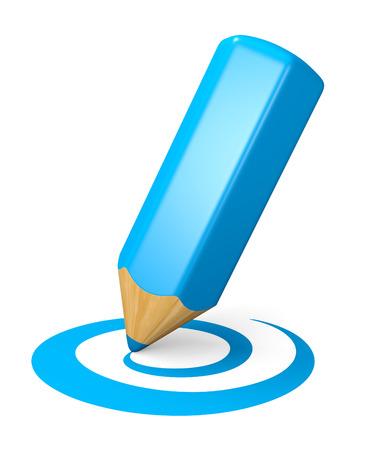 Blue pencil drawing curved shape. Internet blogging concept. 3d illustration. illustration
