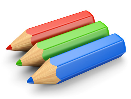 polygraphic: RGB color concept. Red, green and blue pencils isolated on white. 3d illustration.