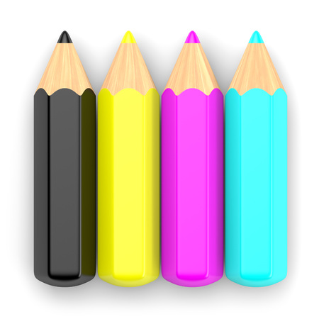 polygraphic: RGB color concept. Cyan, magenta, yellow and black pencils isolated on white. 3d illustration.