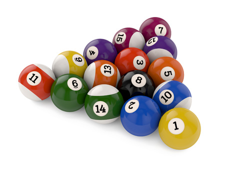 Triangle group of old glossy pool game balls with numbers isolated on white background photo