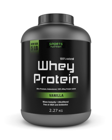Sports nutrition, bodybuilding supplements: jar of vanilla flavored whey protein isolated on white background. Stockfoto